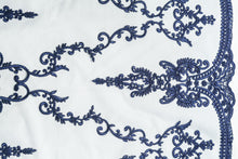 Load image into Gallery viewer, Embroidery Tulle with Azure Blue Damask Design