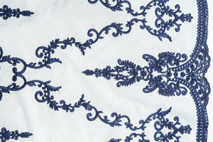 Embroidery Tulle with Azure Blue Damask Design