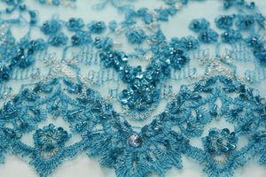 Beaded Fountain Blue Tulle