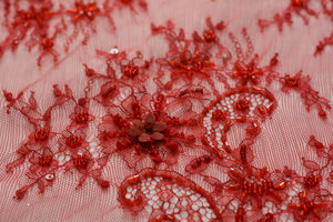 Handed-beaded on Soft Milano Red Lace