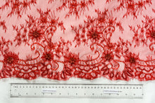 Load image into Gallery viewer, Handed-beaded on Soft Milano Red Lace