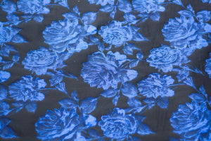 Cobalt Blue Roses on Black