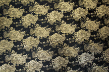 Load image into Gallery viewer, Gray Gold Rose Blossoms on Bunker Black