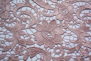 Deep Brandy Rose Guipure Lace
