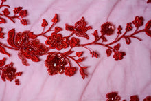 Load image into Gallery viewer, Embroidered and Beaded Tulle Ruby Red Flowers