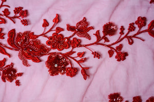 Embroidered and Beaded Tulle Ruby Red Flowers