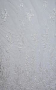Pumice White Sequined Leaf Foliage Lace