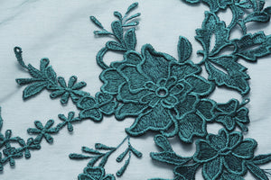 Genoa and Eden Blue Green Corded Lace