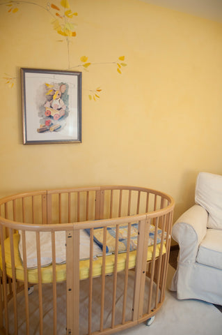 nursery with natural paint, lime paint, zero-VOC