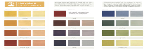Natural, no-VOC clay paint color palette