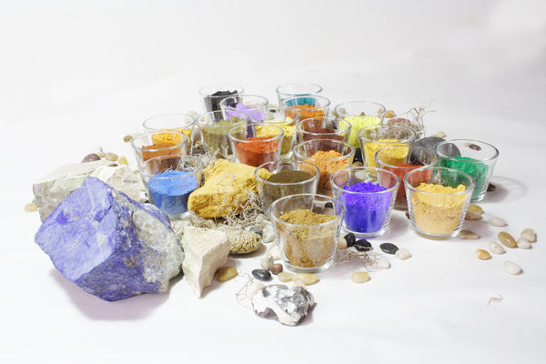 Natural earth and mineral pigments- ochers, umbers, spinels, ultramarines