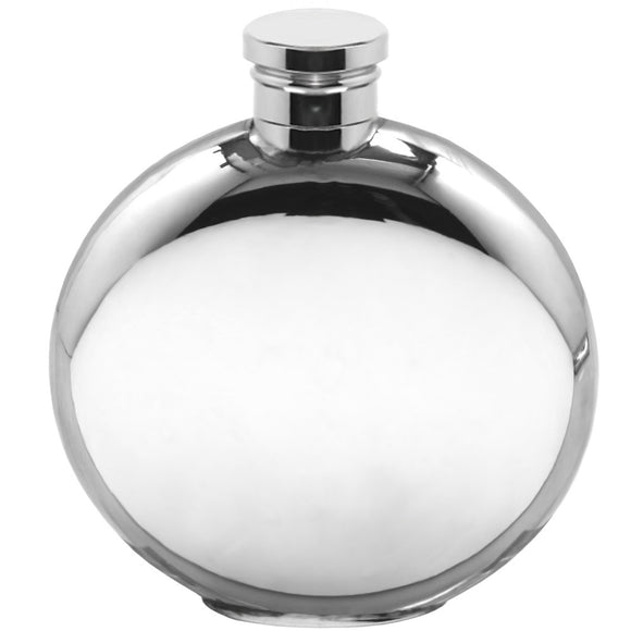 English Pewter 4oz Plain Round Whisky Flask Pewter