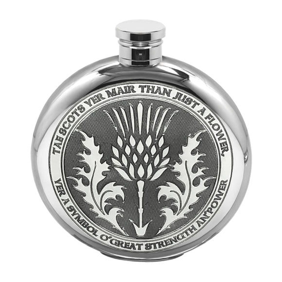English Pewter 6oz Round Tae a Thistle Whisky Flask Pewter
