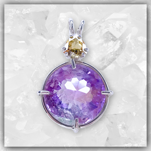 Ametrine Phantom Radiant Heart™ with Golden Beryl