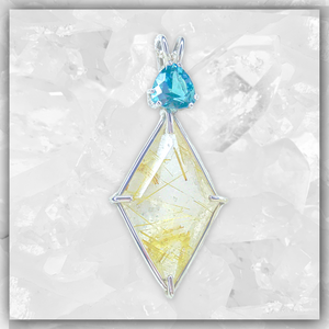 Rutilated Quartz Ascension Star™ with Blue Topaz