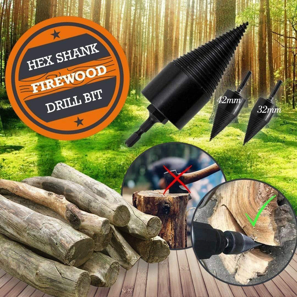 cherryvolley Handmade 32mm Hex Shank Firewood Drill Bit