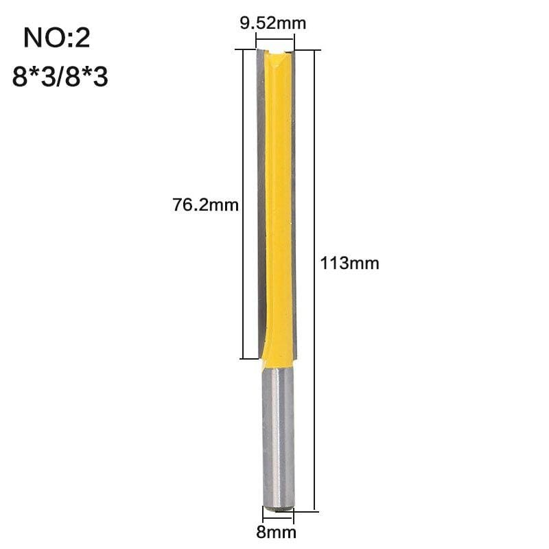 "Yoybi Handmade NO2 1 pc Straight/Dado Router Bit 1/2"" Dia. X 3"" Length - 8"" Shank Woodworking cutter Wood Cutting Tool"