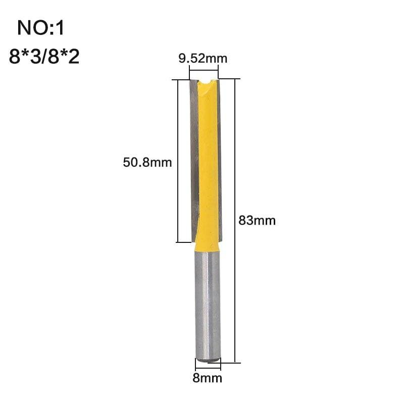 "Yoybi Handmade NO1 1 pc Straight/Dado Router Bit 1/2"" Dia. X 3"" Length - 8"" Shank Woodworking cutter Wood Cutting Tool"