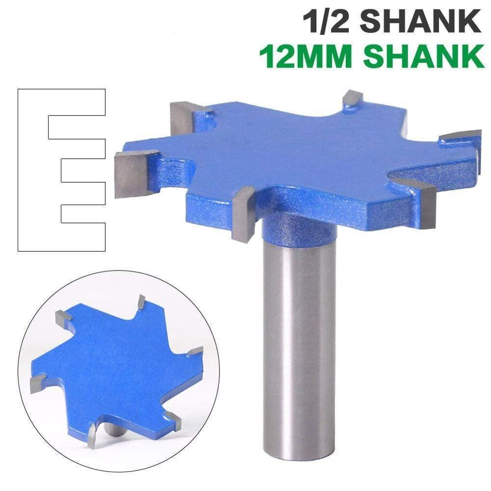 "1pc 1/2"" Shank 12mm shank 6 Edge T Type Slotting Cutter Woodworking Tool Router Bits For Wood Industrial Grade Milling Cutter"