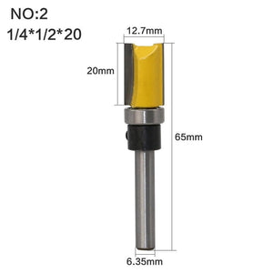 Yoybi Handmade NO2 1PC 1/4 Shank Template Trim Hinge Mortising Router Bit Straight end mill trimmer cleaning flush trim Tenon Cutter forWoodworking