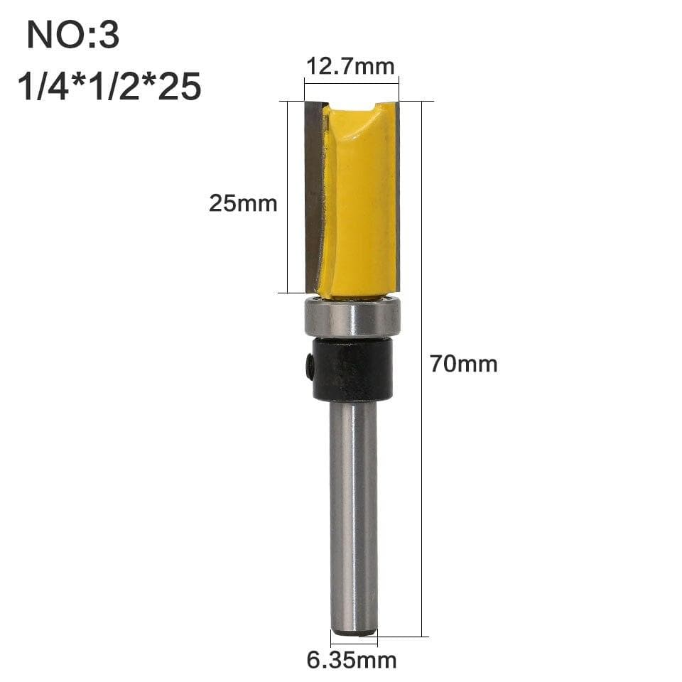 Yoybi Handmade NO3 1PC 1/4 Shank Template Trim Hinge Mortising Router Bit Straight end mill trimmer cleaning flush trim Tenon Cutter forWoodworking