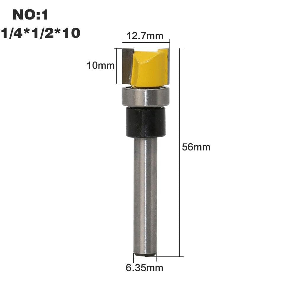 Yoybi Handmade NO1 1PC 1/4 Shank Template Trim Hinge Mortising Router Bit Straight end mill trimmer cleaning flush trim Tenon Cutter forWoodworking