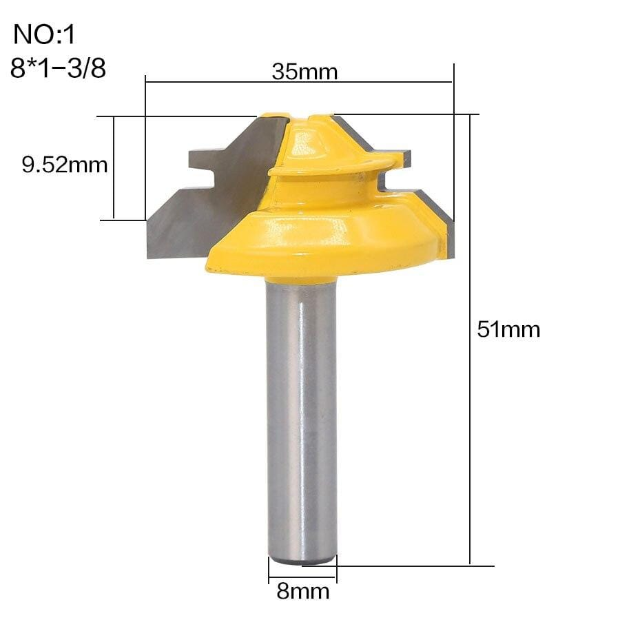 Yoybi Handmade 1Pc 45 Degree Lock Miter Router Bit 8Inch Shank Woodworking Tenon Milling Cutter Tool Drilling Milling For Wood Carbide Alloy