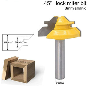 1Pc 45 Degree Lock Miter Router Bit 8MM Shank Woodworking Tenon Milling Cutter Tool Drilling Milling For Wood Carbide Alloy