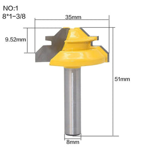 Yoybi Handmade NO1 1Pc 45 Degree Lock Miter Router Bit 8Inch Shank Woodworking Tenon Milling Cutter Tool Drilling Milling For Wood Carbide Alloy