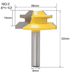 Yoybi Handmade NO2 1Pc 45 Degree Lock Miter Router Bit 8Inch Shank Woodworking Tenon Milling Cutter Tool Drilling Milling For Wood Carbide Alloy