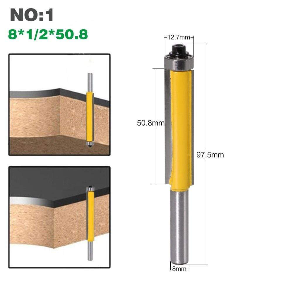 "Yoybi Handmade 1pc 8mm Shank 2"" Flush Trim Router Bit with Bearing for Wood Template Pattern Bit Tungsten Carbide Milling Cutter for Wood 02017"