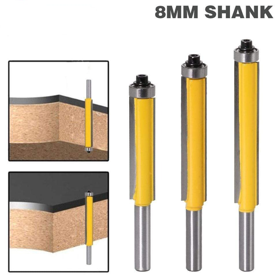 "1pc 8mm Shank 2"" Flush Trim Router Bit with Bearing for Wood Template Pattern Bit Tungsten Carbide Milling Cutter for Wood 02017"