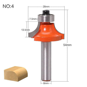 Yoybi Handmade NO4 1pc 8mm Shank Round-Over Router Bits for wood Woodworking Tool 2 flute endmill with bearing milling cutter Corner Round Over Bit