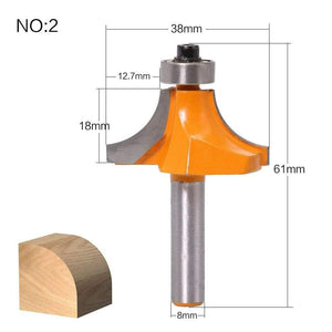 Yoybi Handmade NO2 1pc 8mm Shank Round-Over Router Bits for wood Woodworking Tool 2 flute endmill with bearing milling cutter Corner Round Over Bit
