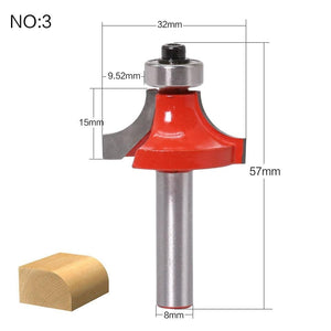 Yoybi Handmade NO3 1pc 8mm Shank Round-Over Router Bits for wood Woodworking Tool 2 flute endmill with bearing milling cutter Corner Round Over Bit