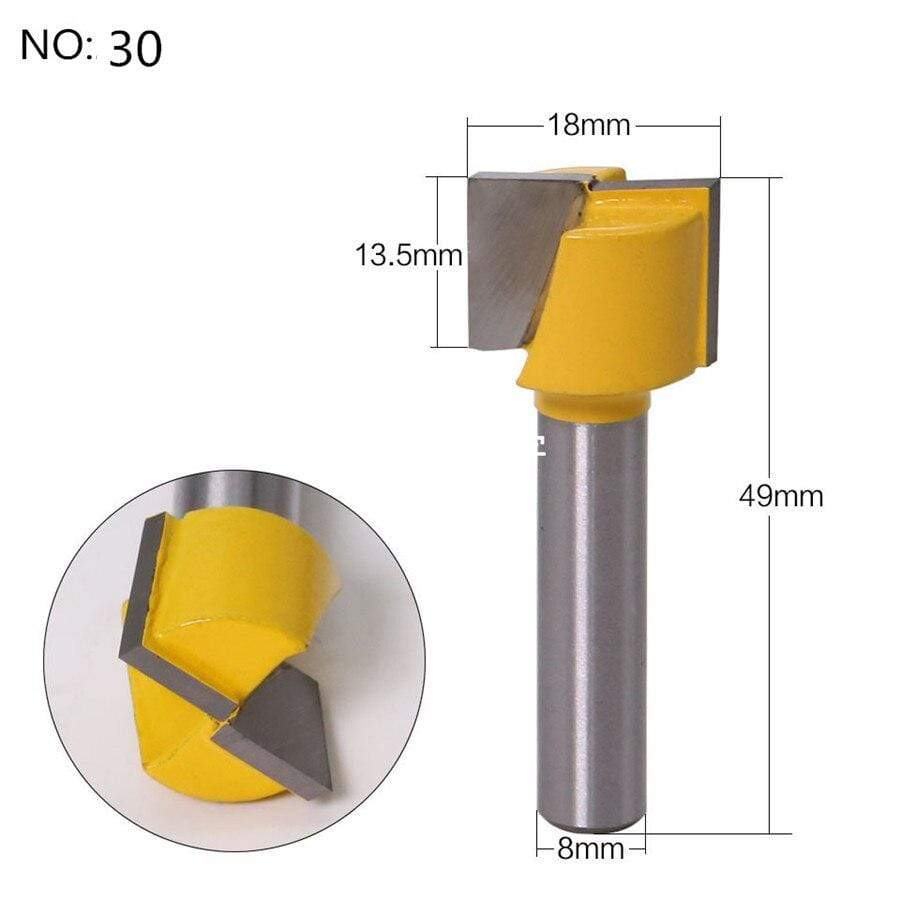 Yoybi Handmade NO 30 1pc 8mm Shank Trimmer Ceaning Flush Trim Wood Router Bit Straight End Milll Tungsten Milling Cutters For Wood Woodworking Tools