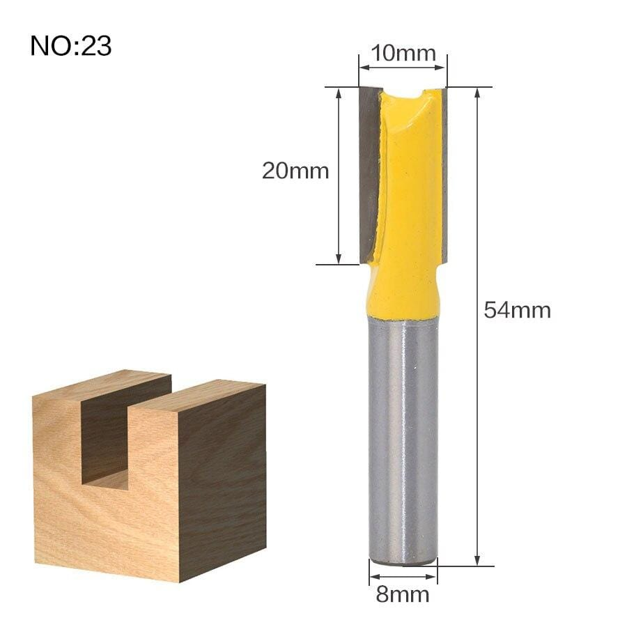 Yoybi Handmade NO 23 1pc 8mm Shank Trimmer Ceaning Flush Trim Wood Router Bit Straight End Milll Tungsten Milling Cutters For Wood Woodworking Tools