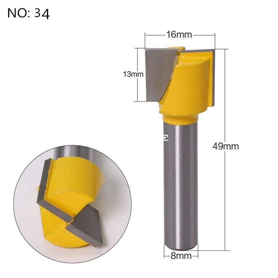 Yoybi Handmade NO 34 1pc 8mm Shank Trimmer Ceaning Flush Trim Wood Router Bit Straight End Milll Tungsten Milling Cutters For Wood Woodworking Tools