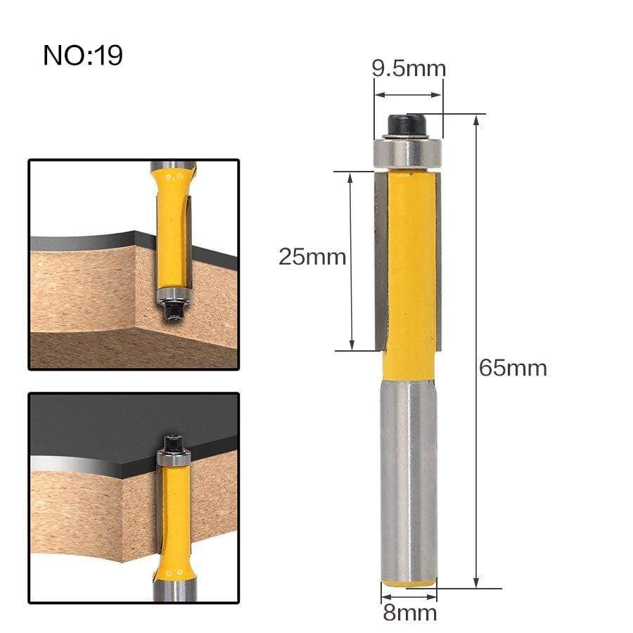 Yoybi Handmade NO 19 1pc 8mm Shank Trimmer Ceaning Flush Trim Wood Router Bit Straight End Milll Tungsten Milling Cutters For Wood Woodworking Tools