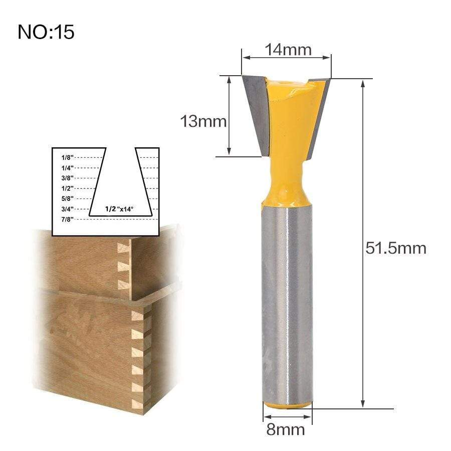 Yoybi Handmade NO 15 1pc 8mm Shank Trimmer Ceaning Flush Trim Wood Router Bit Straight End Milll Tungsten Milling Cutters For Wood Woodworking Tools