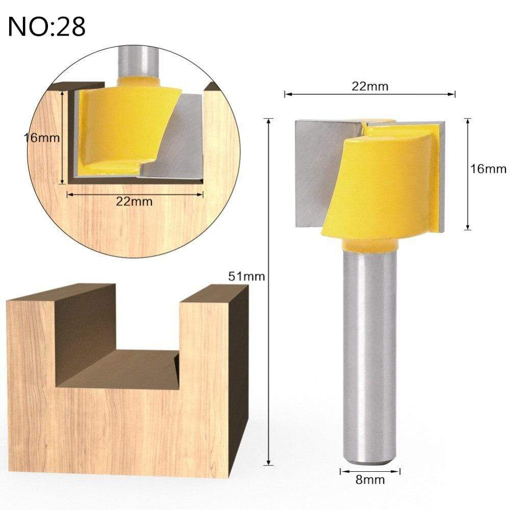 Yoybi Handmade NO 28 1pc 8mm Shank Trimmer Ceaning Flush Trim Wood Router Bit Straight End Milll Tungsten Milling Cutters For Wood Woodworking Tools