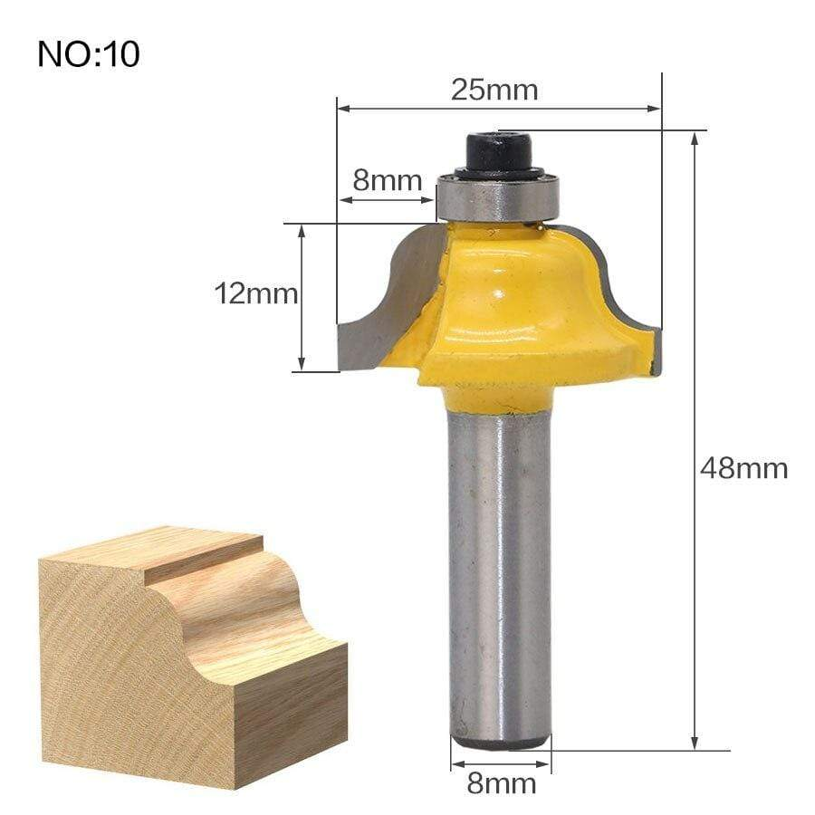 Yoybi Handmade NO 10 1pc 8mm Shank Trimmer Ceaning Flush Trim Wood Router Bit Straight End Milll Tungsten Milling Cutters For Wood Woodworking Tools