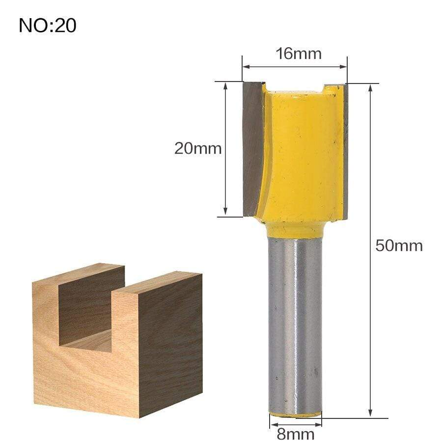 Yoybi Handmade NO 20 1pc 8mm Shank Trimmer Ceaning Flush Trim Wood Router Bit Straight End Milll Tungsten Milling Cutters For Wood Woodworking Tools