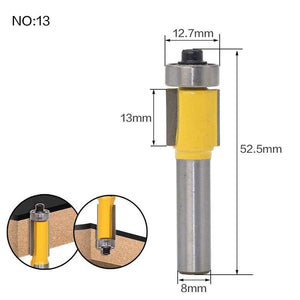 Yoybi Handmade NO 13 1pc 8mm Shank Trimmer Ceaning Flush Trim Wood Router Bit Straight End Milll Tungsten Milling Cutters For Wood Woodworking Tools