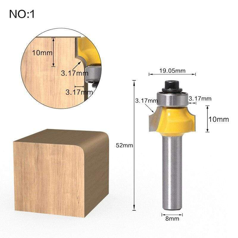 Yoybi Handmade NO 1 1pc 8mm Shank Trimmer Ceaning Flush Trim Wood Router Bit Straight End Milll Tungsten Milling Cutters For Wood Woodworking Tools
