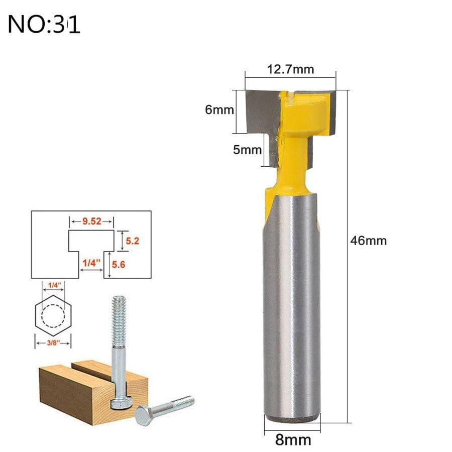 Yoybi Handmade NO 31 1pc 8mm Shank Trimmer Ceaning Flush Trim Wood Router Bit Straight End Milll Tungsten Milling Cutters For Wood Woodworking Tools
