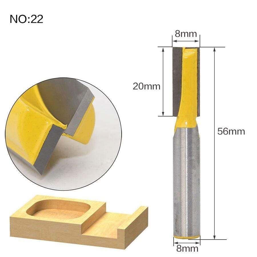 Yoybi Handmade NO 22 1pc 8mm Shank Trimmer Ceaning Flush Trim Wood Router Bit Straight End Milll Tungsten Milling Cutters For Wood Woodworking Tools
