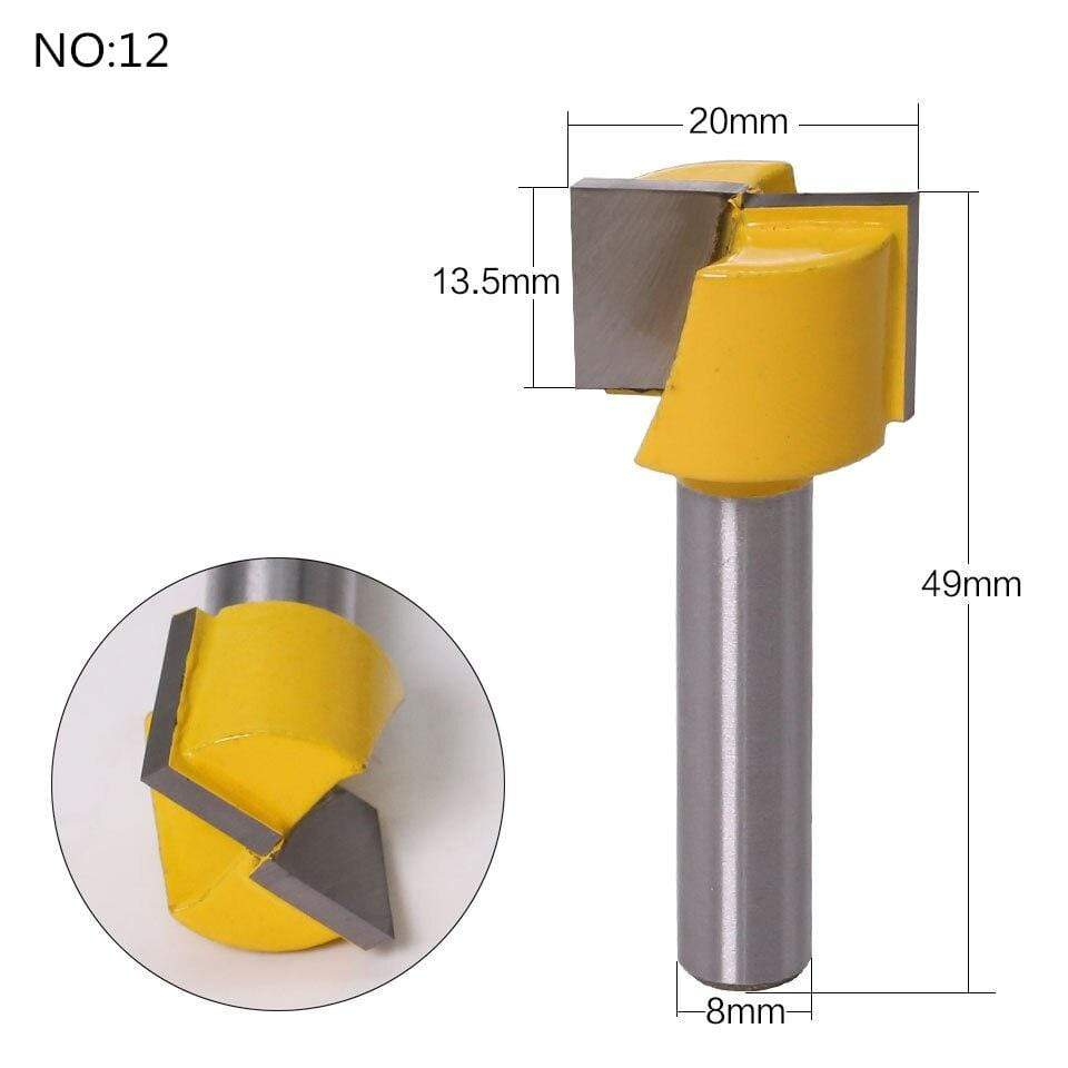 Yoybi Handmade NO 12 1pc 8mm Shank Trimmer Ceaning Flush Trim Wood Router Bit Straight End Milll Tungsten Milling Cutters For Wood Woodworking Tools