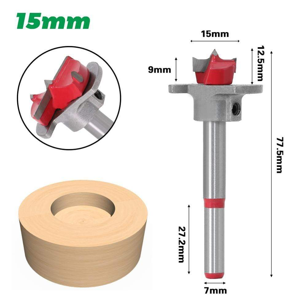 Yoybi Handmade 15mm 1pc Diameter 15,20,25,30,35mm Adjustable Carbide Drill Bits Hinge Hole Opener Boring Bit Tipped Drilling Tool Woodworking Cutter
