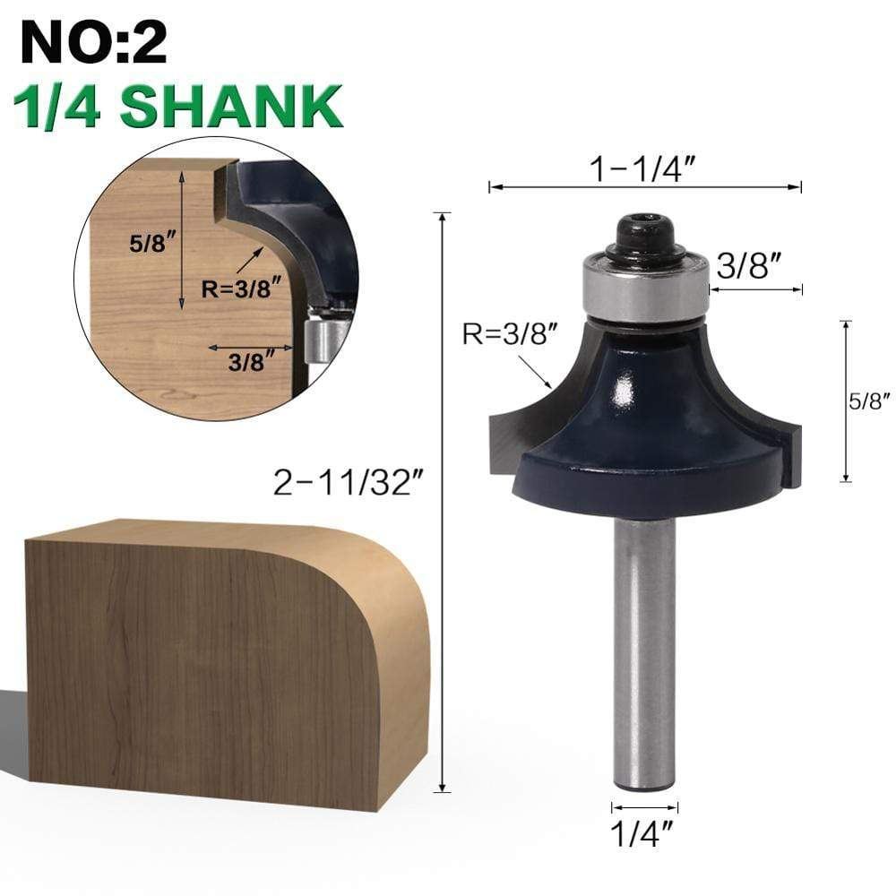 "Yoybi Handmade NO2 6.35mm shank 1pcs 6mm shank 1/4"" shank Corner Round Over Router Bit with BearingMilling Cutter for Wood Woodwork Tungsten Carbide"